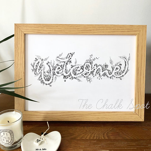 Welcome Print inverted floral - weddings hallways new baby