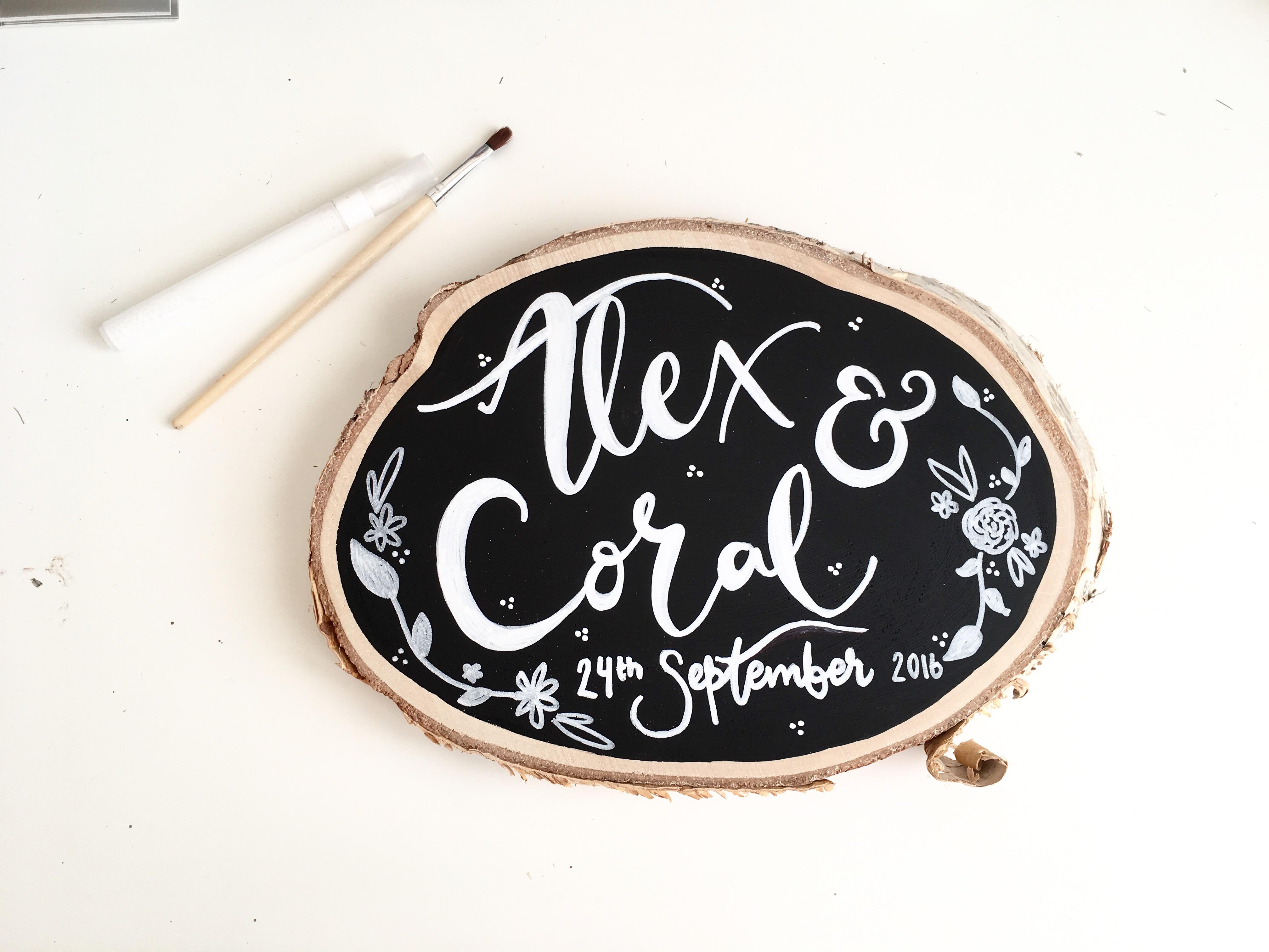 chalkboard woodslice