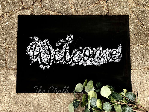 Inverted Flower Welcome Chalkboard A2