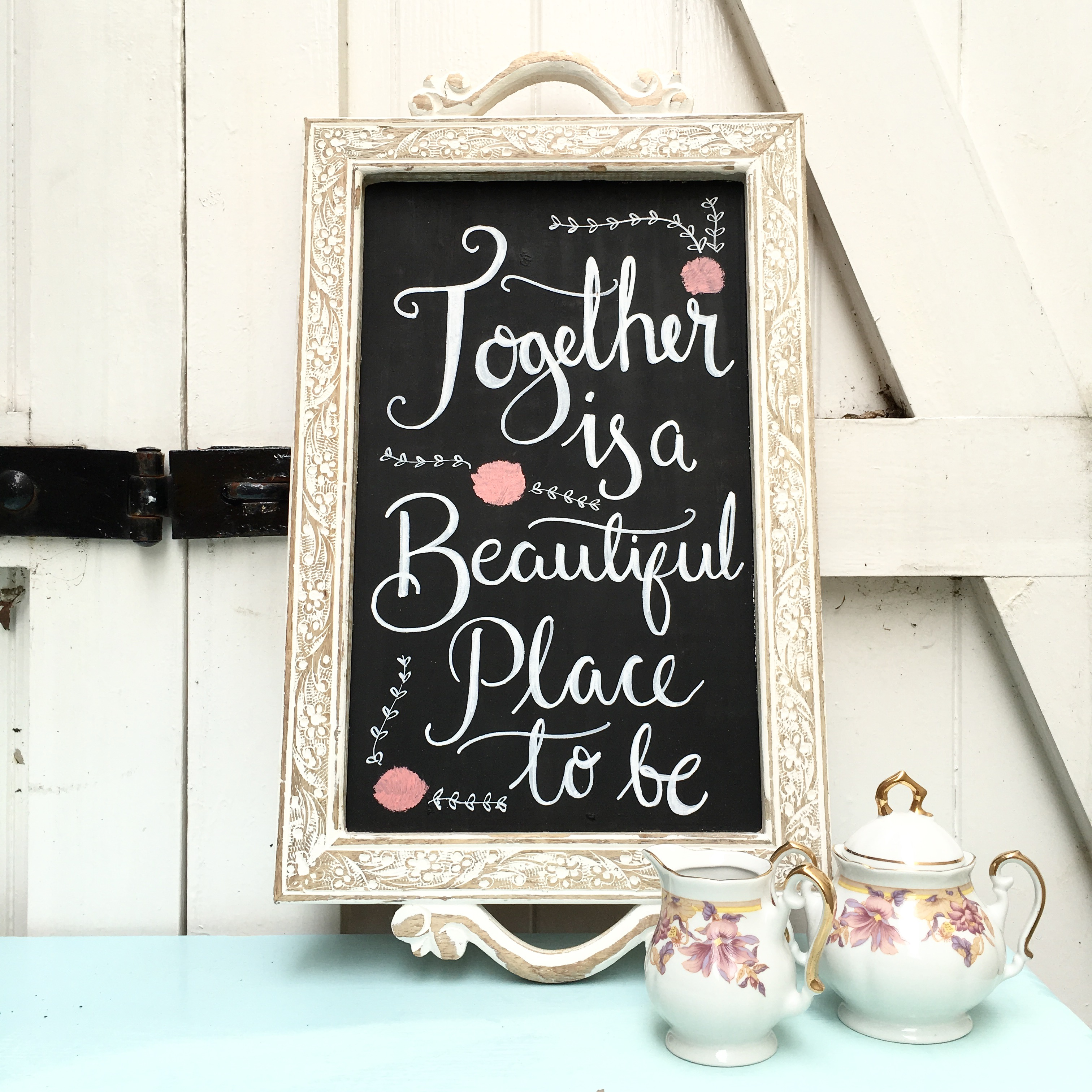 Upcycled Tea Tray Chalkboard