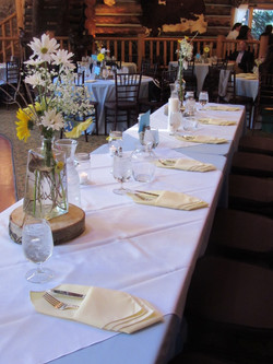 Head table set up at T lazy 7 ranch