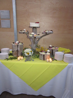 Aspen tree cake stand and side logs