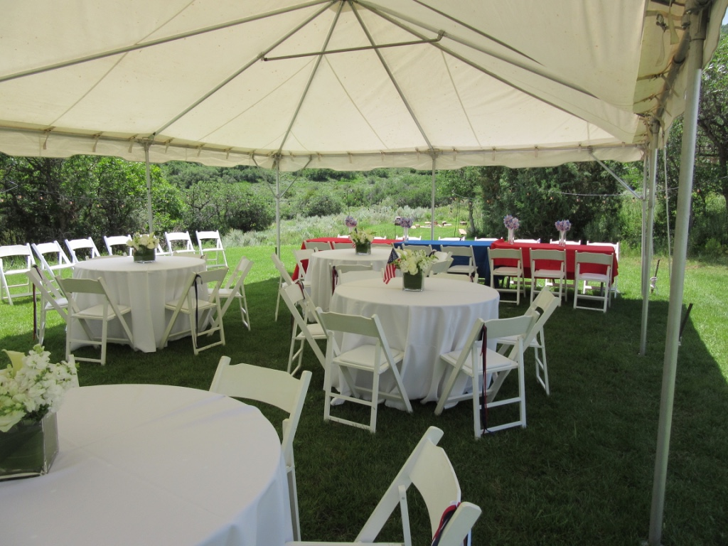 Frame tent, round and rectangular tables, white chairs