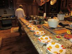 Preparing salads for sit down dinner