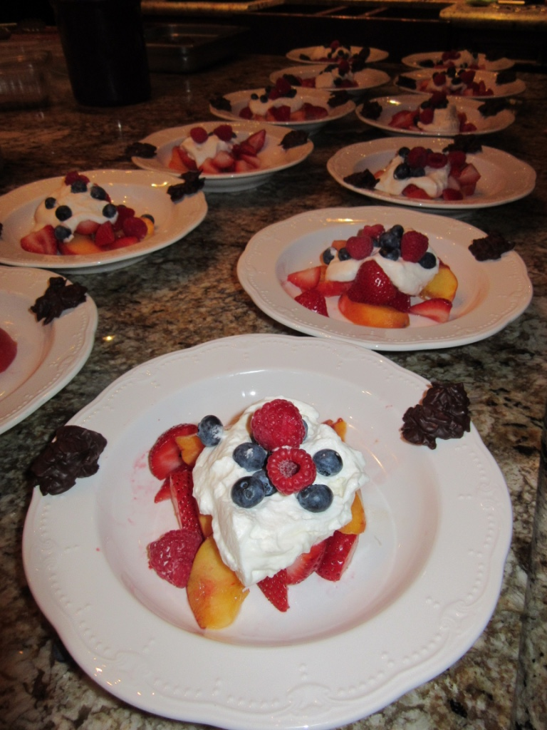 Seasonal fruit with fresh whipped cream for dessert