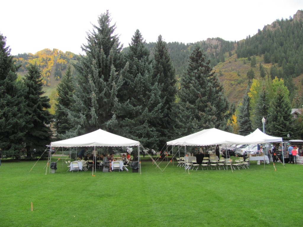 Lawn canopies for Sunday brunch in Paepcke park