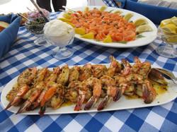 Tapas shrimp and smoked salmon