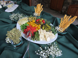 Antipasto platter with cheddar chive cheese straws