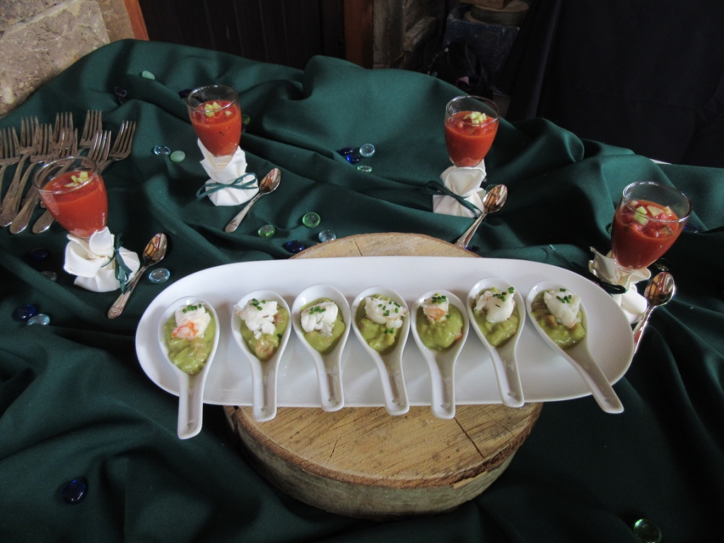 Avocado lobster bites and gazpacho shooters