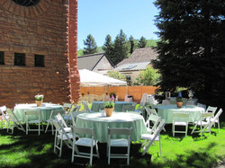 """60"""" rnd. tables, white wood chairs, mint green linen"""