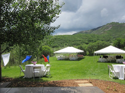 2-20'x 30' frame tents, tables, chairs, linen