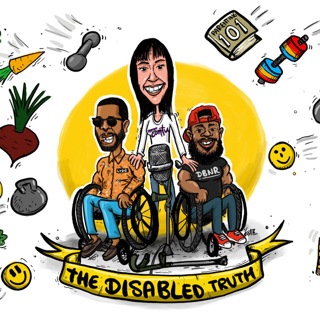 image shows cartoon version of podcast hosts one woman standing with her leg braces on, two black men in wheelchairs, all smiling
