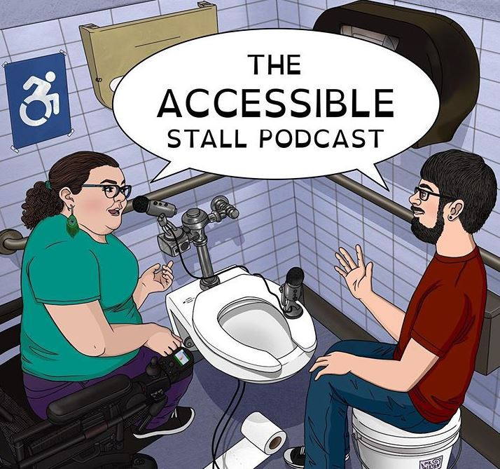 image shows a cartoon version of podcast hosts for accessibile stall podcast, they are shown in the handicap stall
