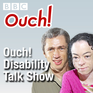 image shows podcast cover art of bbc ouch with two hosts shown