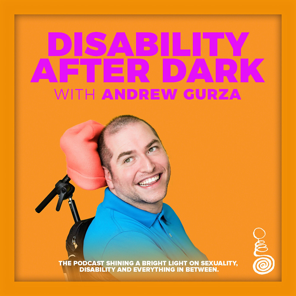 image shows andrew who is a wheelchair user and the title of his podcast disability after dark