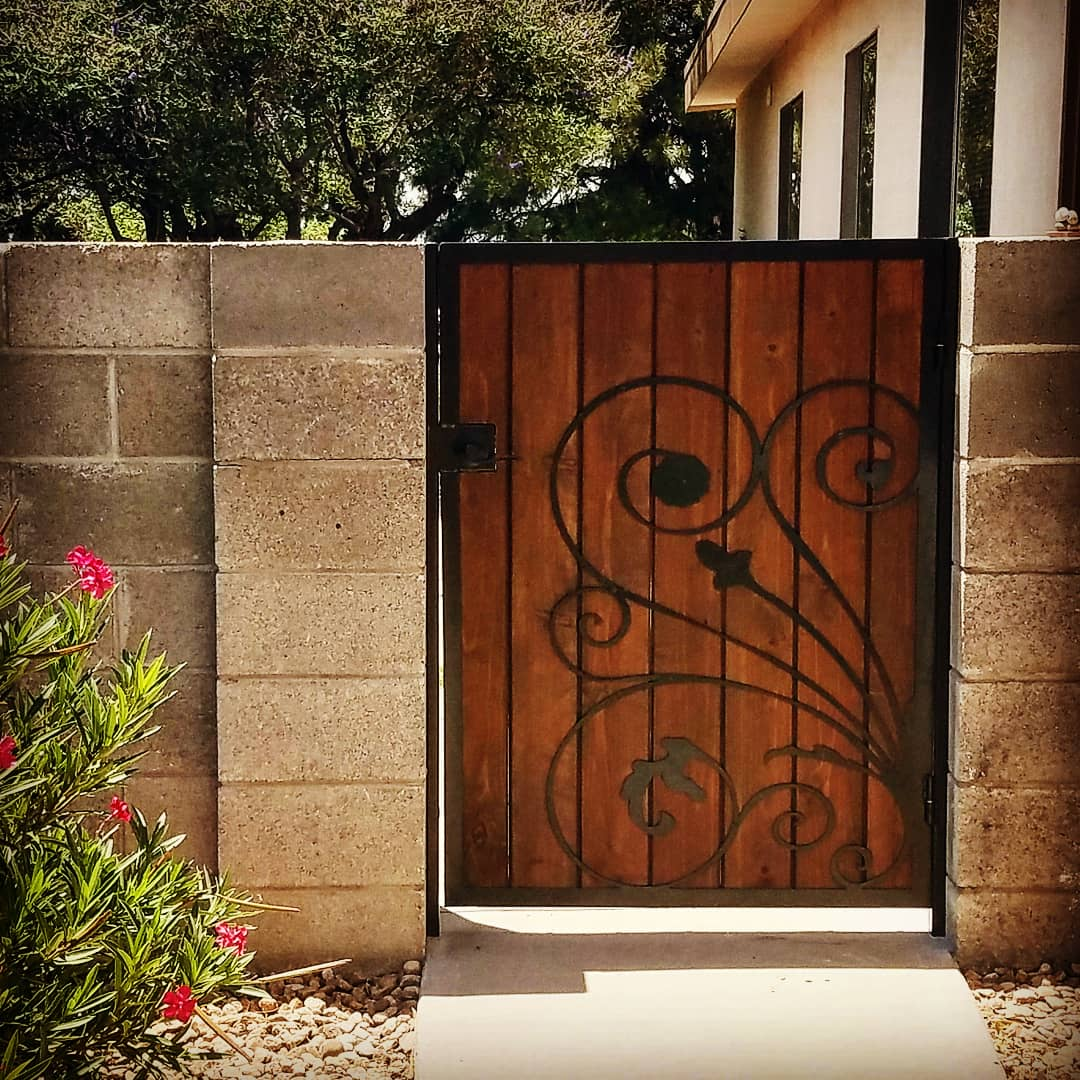 Redwood and iron gate