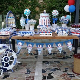 Tarta y mesa de dulces Marine, en  Balneario Illetas - Beach Club
