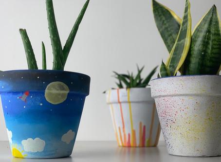 Gorgeous Painted Plant Pots - Kids Crafts