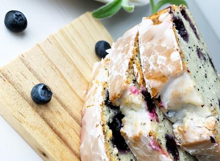 Vegan Lemon, Poppyseed & Blueberry Cake