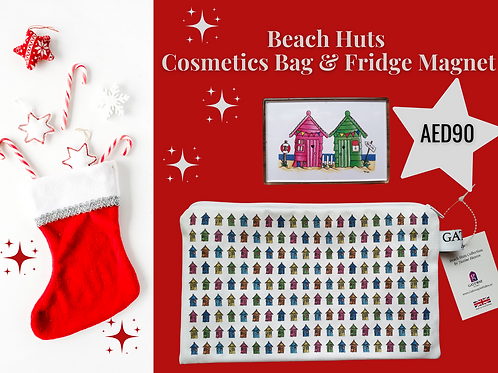 Stocking filler cosmetics bag fridge magnet beach huts houses AED90 Christmas 2020 Gateway Art Sales Abu Dhabi Dubai UAE