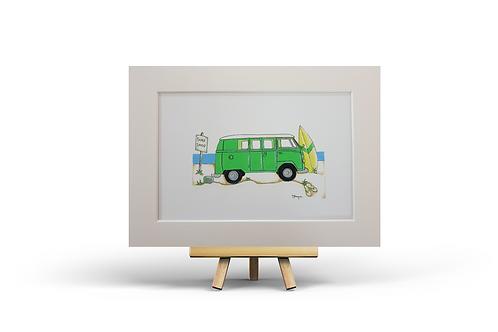Green Camper Van MOUNTED PRINTS (A4)