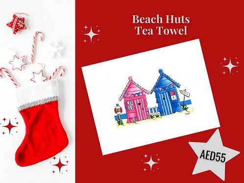 Pink blue house houses beach houses beach huts tea towel stocking filler Christmas 2020 Gateway Art Sales Abu Dhabi Dubai UAE