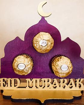 Eid Mubarak Chocolate Gift Ferrero Rocher laser cut mosque shape hand painted gold purple desk decoration corporate gift idea suitable for Eid Al Fitr & Eid Al Adha for sale in our secure online shop in Abu Dhabi Al Ain Dubai UAE Gateway Art Sales LLC