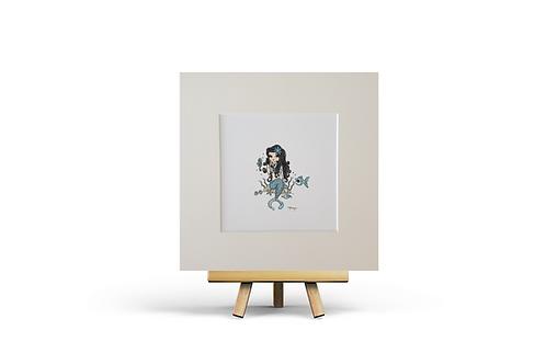 turquoise mermaid giclee print square art print home decor girls gift idea Gateway Art Sales Abu Dhabi Dubai UAE