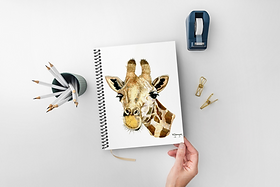 Giraffe Notebook A5 spiral bound 50 blank inner pages plastic cover for sale in Abu Dhabi Al Ain Dubai UAE by Gateway Art Sales