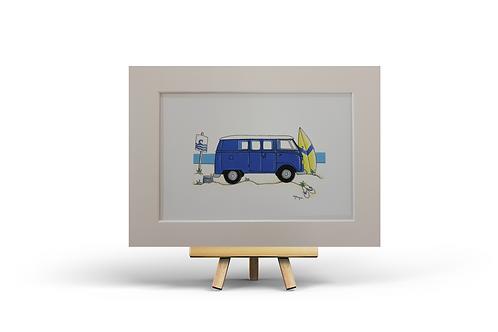 Blue Camper Van MOUNTED PRINT (A4)