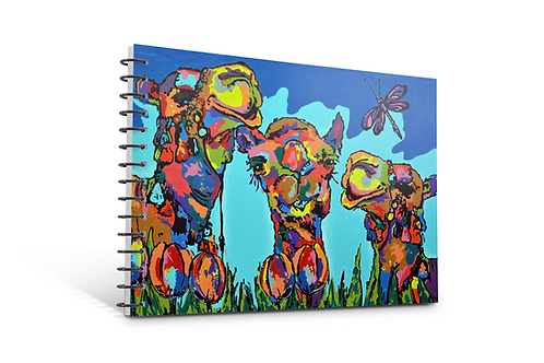 Camels notebook A4 size spiral bound 50 blank inner pages stationery paper gift Arabic Gateway Art Sales Abu Dhabi Dubai UAE