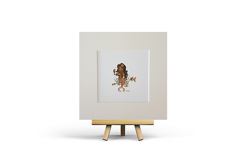 orange mermaid giclee print square art print picture easel girls bedroom decor Gateway Art Sales Abu Dhabi Dubai UAE