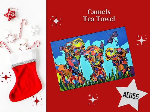 Camels tea towel stocking filler Arabic art souvenir cotton Gateway Art Sales Abu Dhabi Dubai UAE Christmas 2020