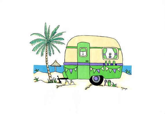 Retro Caravan in Green