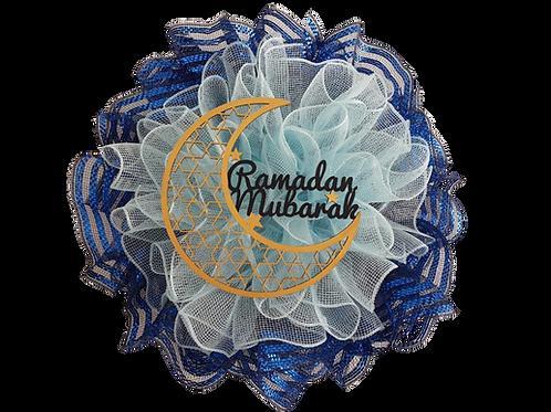 Blue Ramadan Mubarak Wreath budget wreath small wall decor moon decoration  Abu Dhabi Al Ain Dubai Gateway Art Sales LLC