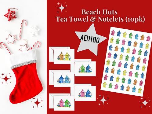 Beach huts tea towel notelets stocking filler AED100 Christmas 2020 present gift Gateway Art Sales Abu Dhabi Dubai UAE