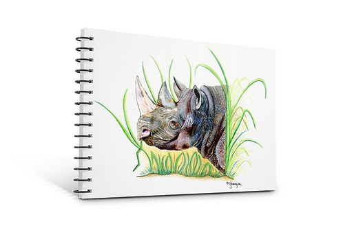 rhino notebook A5 size spiral bound 50 blank inner pages paper gifts rhino theme Gateway Art Sales Abu Dhabi Dubai UAE