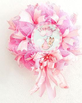 It's a Girl wreath newborn baby birth announcement door decoration pink decor nursery for sale in our secure online shop in Abu Dhabi Al Ain Dubai UAE Gateway Art Sales LLC