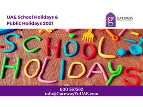 UAE School Holidays & Public Holidays 2021
