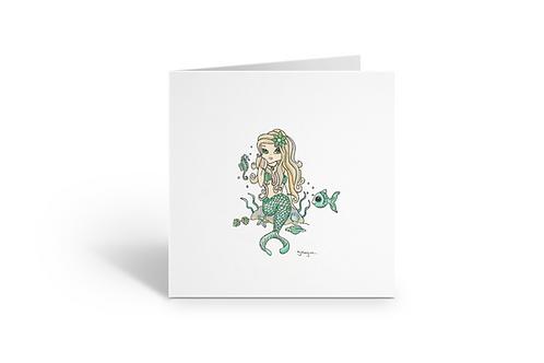 Green Mermaid greeting card square Gateway Art Sales Abu Dhabi Dubai UAE