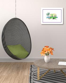 green caravan original painting artwork double mount framed for sale online in Abu Dhabi Al Ain Dubai UAE Gateway Art Sales LLC