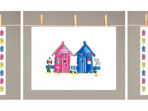 Luxury Tea Towels gift set 2 pack beach huts  beach houses dish towels kitchen textiles Gateway Art Sales Abu Dhabi Dubai UAE