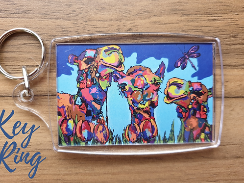 Key ring camels abstract art souvenir stocking filler gift idea key chain Gateway Art Sales Abu Dhabi Dubai UAE