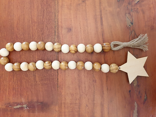 Natural Wood bead garland jute tassel star boho hygge decor spring easter Abu Dhabi Dubai Al Ain UAE Gateway Art Sales LLC