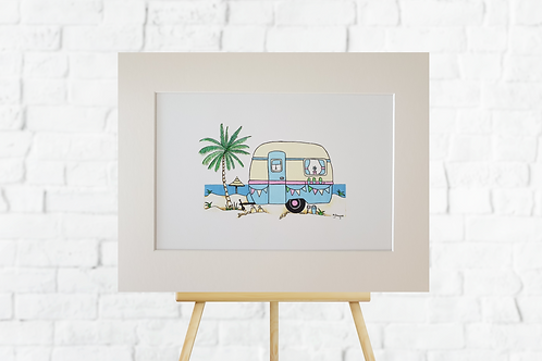 Blue Retro Caravan giclee print mounted artwork picture insitu easel Gateway Art Sales Abu Dhabi Dubai UAE