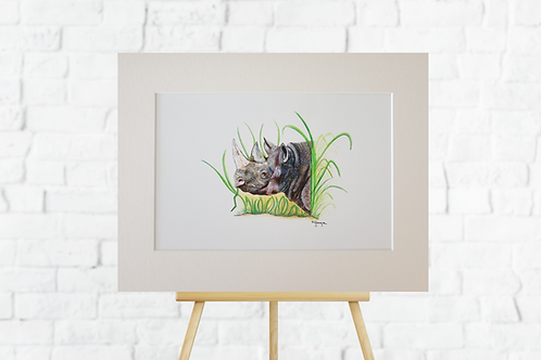Rhino giclee print mounted artwork picture insitu easel Gateway Art Sales Abu Dhabi Dubai UAE