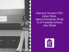 Gateway Group's CEO, Jenny Hunt, opens Enterprise Week at Al Yasmina School, Abu Dhabi