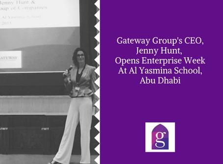 Gateway Group's CEO, Jenny Hunt, opens Enterprise Week at Al Yasmina School, Abu Dhabi