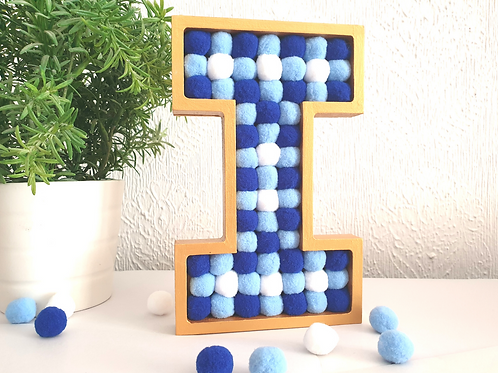 blue white felt balls freestanding letter I gold pom poms shelf decor gift Abu Dhabi Al Ain Dubai Gateway Art Sales LLC
