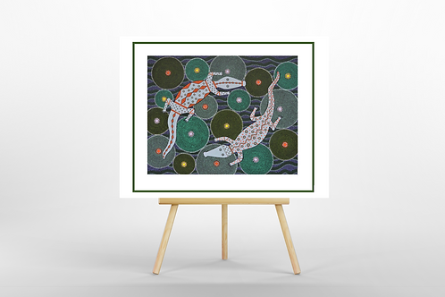 Crocodile Creek dot art limited edition giclee print easel Gateway Art Sales Abu Dhabi Dubai UAE